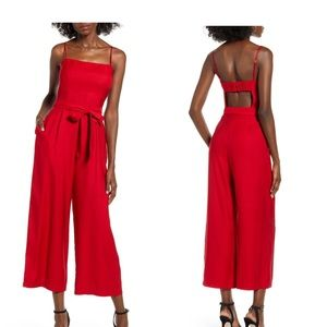 LEITH / red open back wide leg jumpsuit / XL